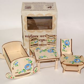 """A set of furniture for the doll """"Blue Camomiles"""" 6-object (decor-hand-painted). ART420 / 3"""