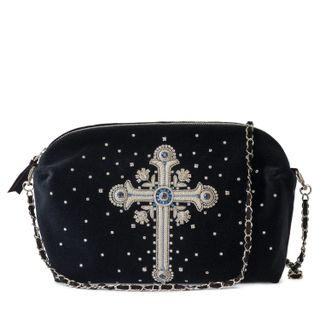 Velvet bag, Glamour black with silver embroidery