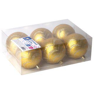 Golden fairy tale / Christmas tree balls SET 6 pcs., Plastic, 8 cm, with a golden pattern, golden color