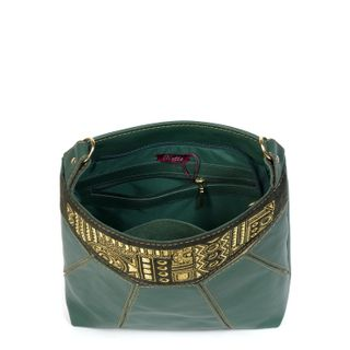 """Leather bag """"Manista"""" green with gold embroidery"""