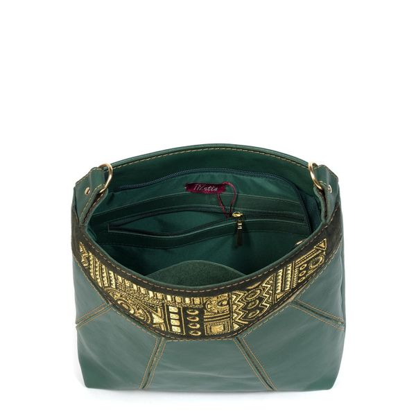Leather bag 'Manista' green with gold embroidery
