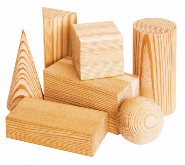 A set of geometric solids - 7 parts in wooden box for children from 2 years