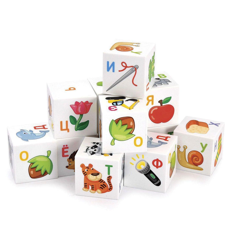 """Plastic Cubes For smarts """"ABC"""" 12 pieces, 4 x4 x4 cm, letters/pictures on white cubes,10 KOR"""