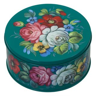 Zhostovo / Round medium tin can, author Danilova N. 15x15x10 cm