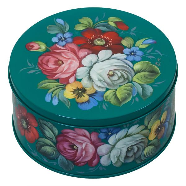Zhostovo / Round medium tin can, author Danilova N. 15x15x10 cm