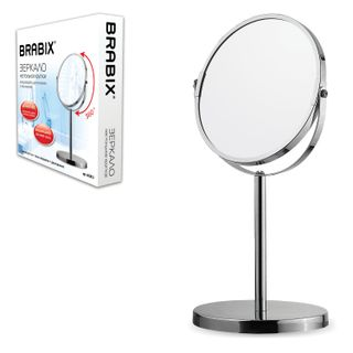Mirror cosmetic round table, diameter 17 cm, double-sided with magnification, BRABIX