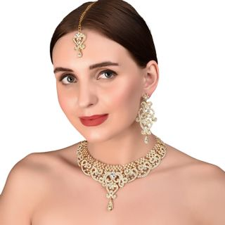Gold Tone Royal Indian Bollywood White Rhinestones Grand Bridal Jewelry Necklace For Women
