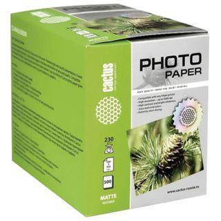 Photo paper for inkjet printing 10х15см, 230 g/m2, 500 sheets, single-sided Mat, CACTUS