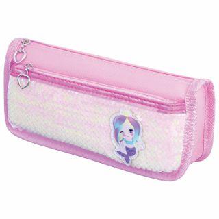 Pencil case-cosmetic bag INLANDIA, 2 branches, soft, sequined, mermaid, pink, 21х6х9 cm