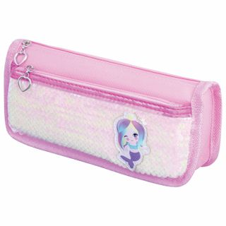 Pencil case-cosmetic bag INLANDIA, 2 branches, soft, sequined, mermaid, pink, 21х6х9 cm