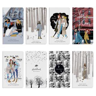 Sketchbook, ivory/ black paper 80 g/m2, 92x167 mm, 112 sheets, book hardcover,