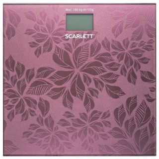 SCARLETT / Floor scales SC-217, electronic, weight up to 180 kg, square, glass, pink