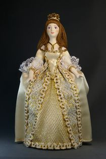 Doll gift porcelain. Cinderella. Fairy tale character. The costume is inspired by French fashion of the first floor. 18 V.