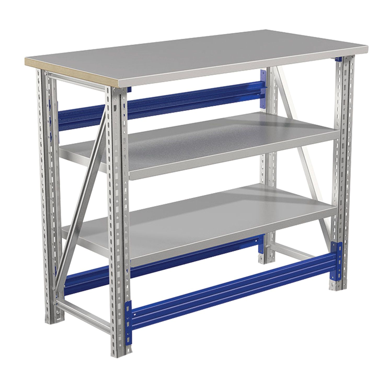 "PRAKTIK / Metal workbench ""Master"" No. 106, 900x1000x500 mm, steel table top, shelves"