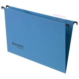 Hanging folder A4/Foolscap (406х245 mm), up to 80 sheets, SET of 10 PCs, blue cardboard, BRAUBERG (Italy)