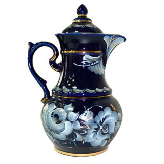Pitcher Hutorok cobalt paint gold, Gzhel Porcelain factory