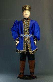 Doll gift porcelain. Kalmyk festive costume.