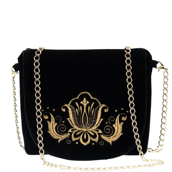 Velvet clutch 'Lily' in black with gold embroidery