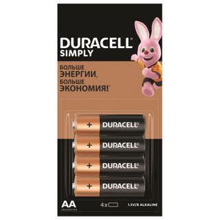DURACELL / Batteries Simply, AA (LR06, 15A), alkaline, finger, SET 4 pcs. (tear-off block)