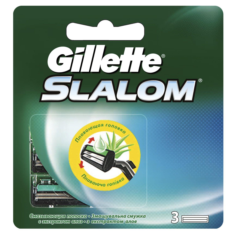 "Replacement shaving cassettes 3 pcs. GILLETTE ""Slalom"" for men"
