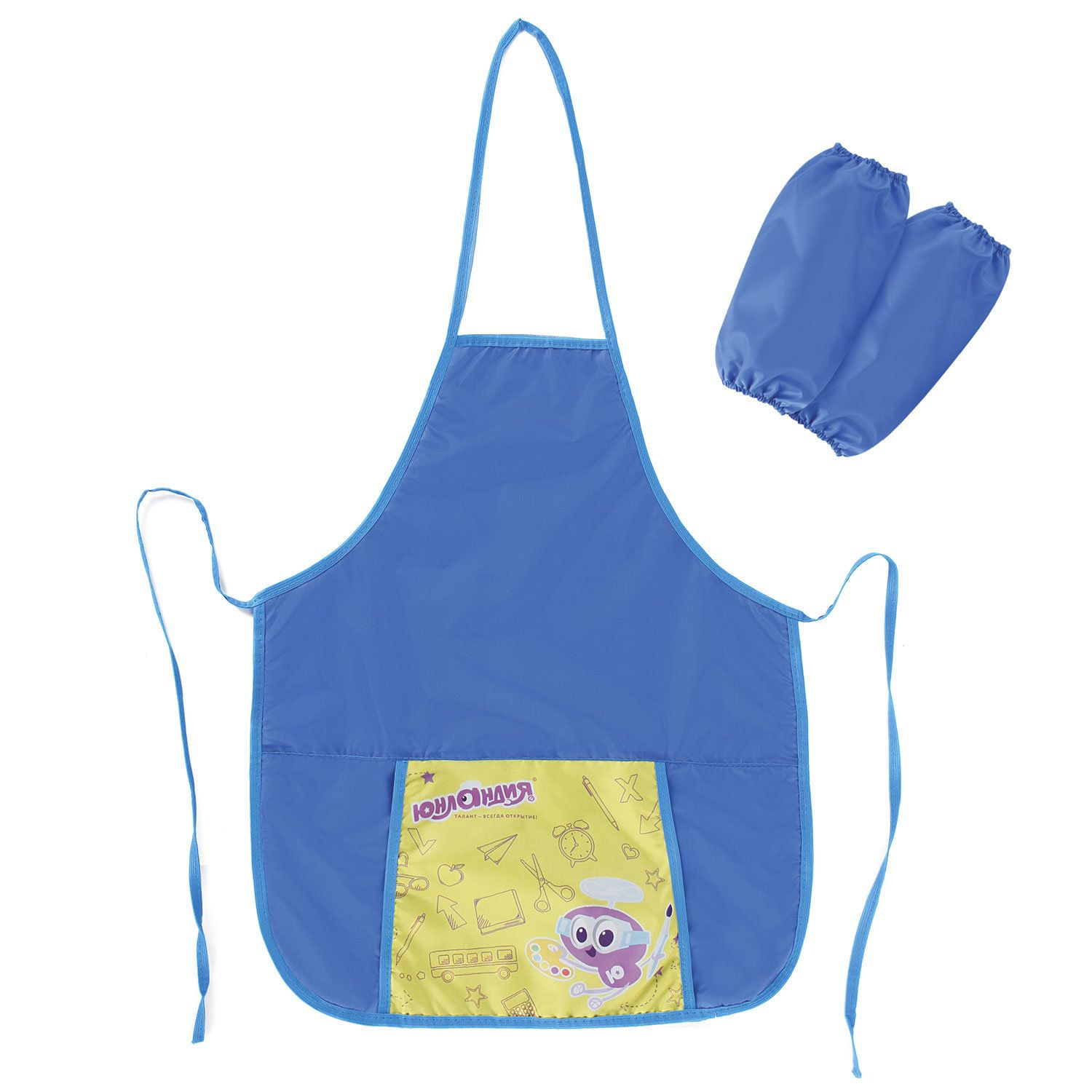 Apron for work and creative activities INLANDIA armbands, 44х55 cm, blue