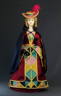 Doll gift porcelain. The lady in theatrical costume. 'Colombina'. 19th century.