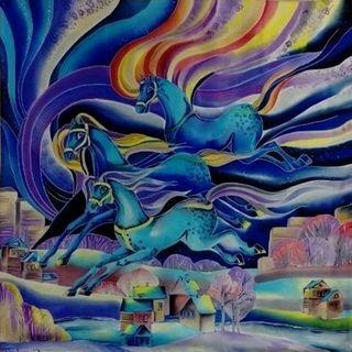 "Silk scarf ""Horses"""