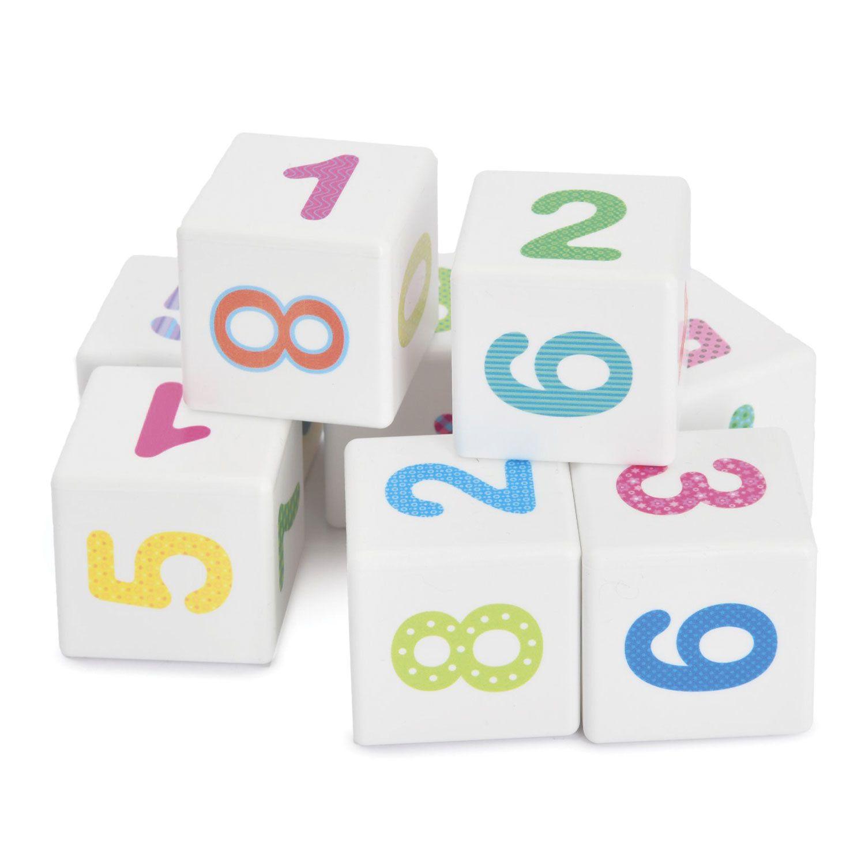 """Plastic cubes """"Fun arithmetic"""" 12 pieces, 4 x 4 x 4 cm, colored figures on white cubes, 10 KINGDOM"""