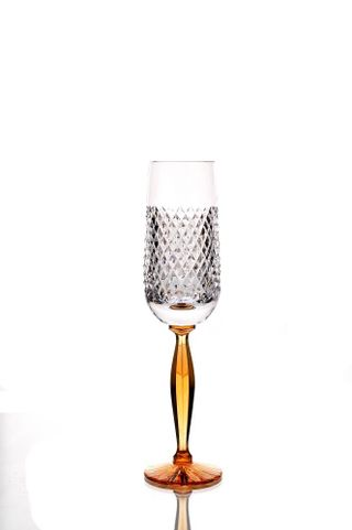 """A set of crystal glasses """"Valencia"""" on an amber leg 6 pieces"""