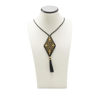 "Pendant ""Dance"" in black with gold embroidery"