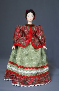 Doll gift porcelain. The merchant's wife. The class suit. Late 19th - early 20th century. Russia.