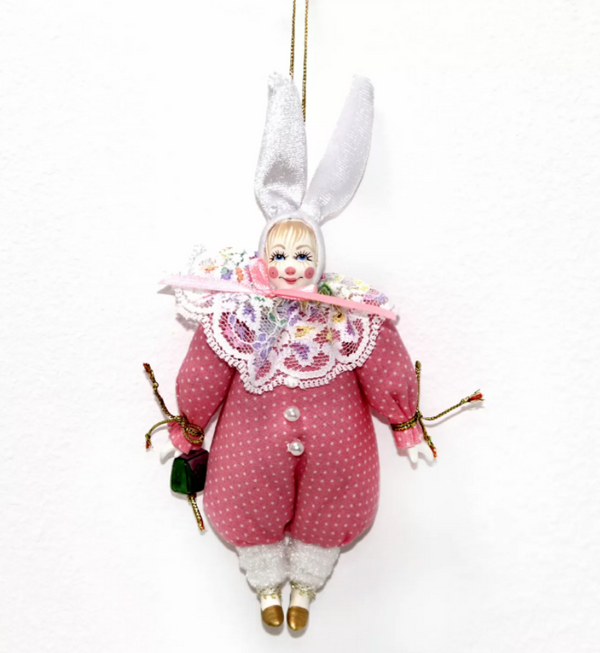 Matryoshka Factory / Christmas tree decoration Hare pink, 17 cm