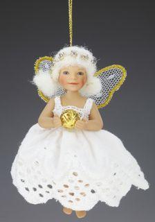 """Doll Birgitte Frigast porcelain """"angel with a Golden ball"""""""