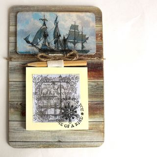 Handmade male magnet sailor with notebook for notes