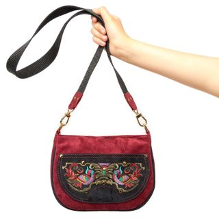 "Suede bag ""the Firebird"" Burgundy with gold embroidery"