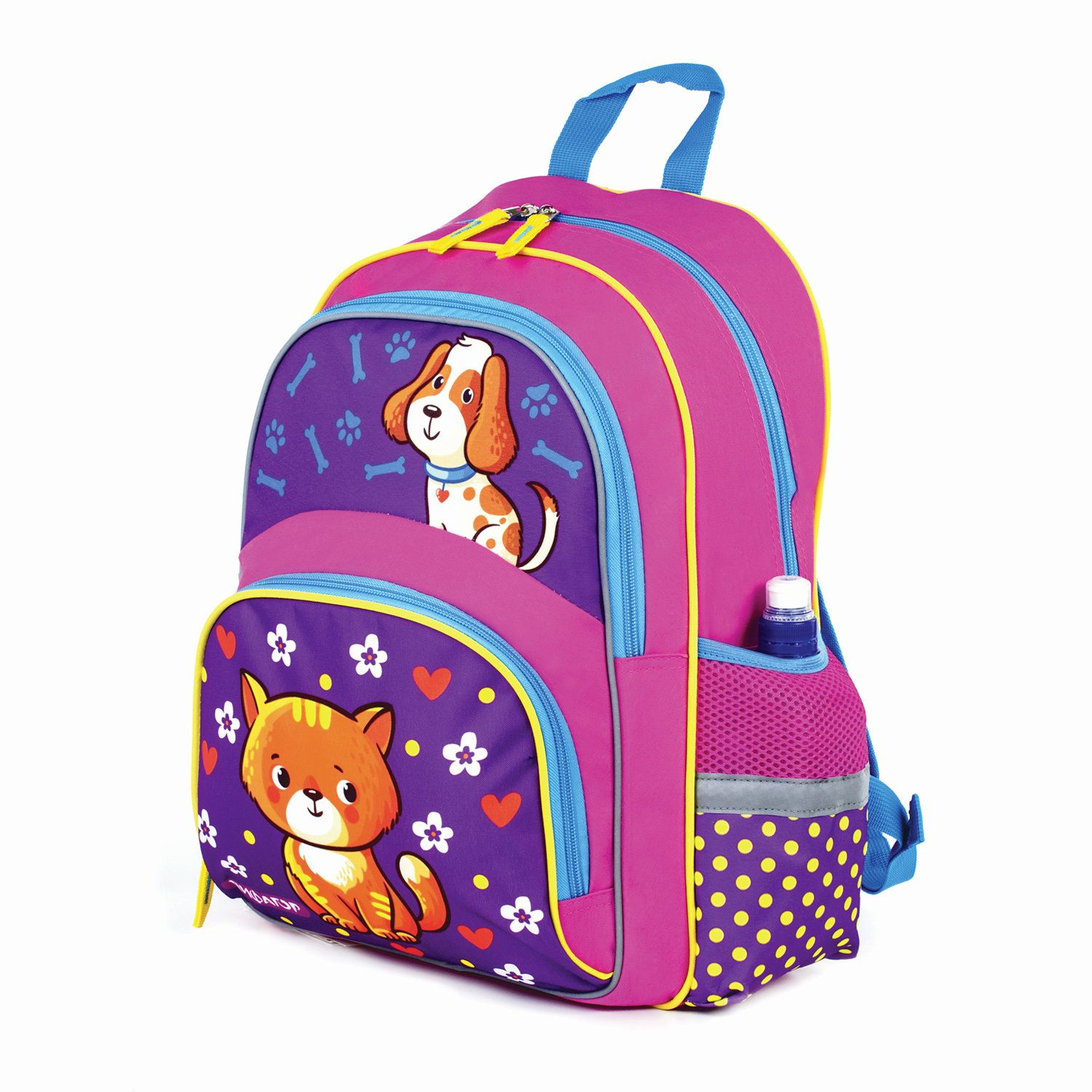 """Backpack PYTHAGORAS+ for pupils of elementary school """"Dog and cat"""", 40h30h15 cm"""