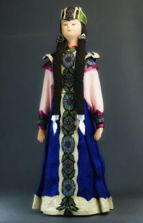 Doll gift porcelain. Astrakhan lips. Kalmyk festive costume girl. K. 19-B. 20.