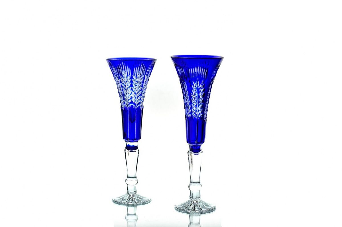 """Set of crystal glasses """"Leipzig"""" blue 2 pieces"""