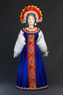 Doll gift porcelain. Novgorod province. Maiden costume.