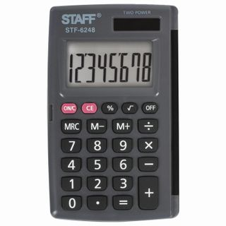 Pocket calculator STAFF STF-6248 (104x63 mm), 8 digits, dual power supply