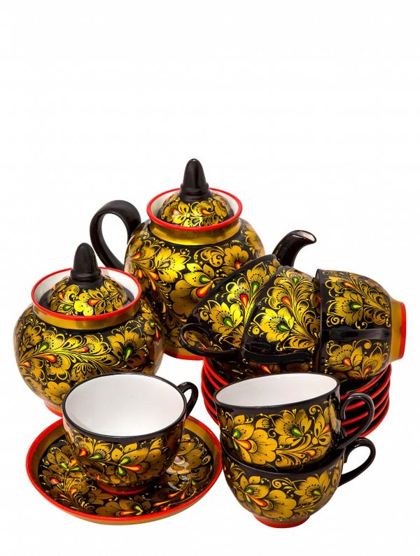 Tea service with Khokhloma painting, 14 items