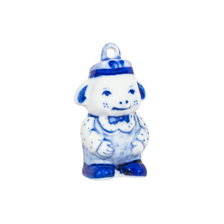 Christmas toy Pig Wrapper, Gzhel Porcelain factory