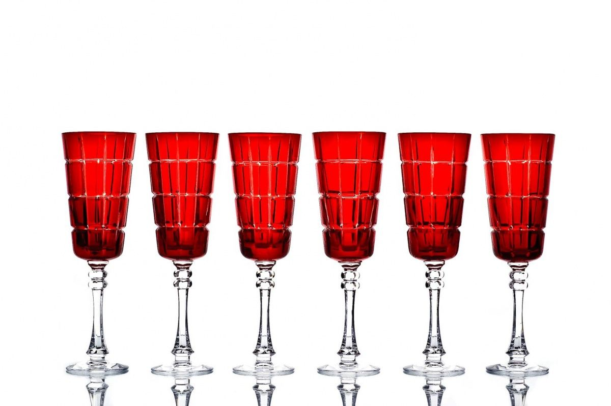 """Set of crystal glasses """"Imperial"""" red 6 pieces"""
