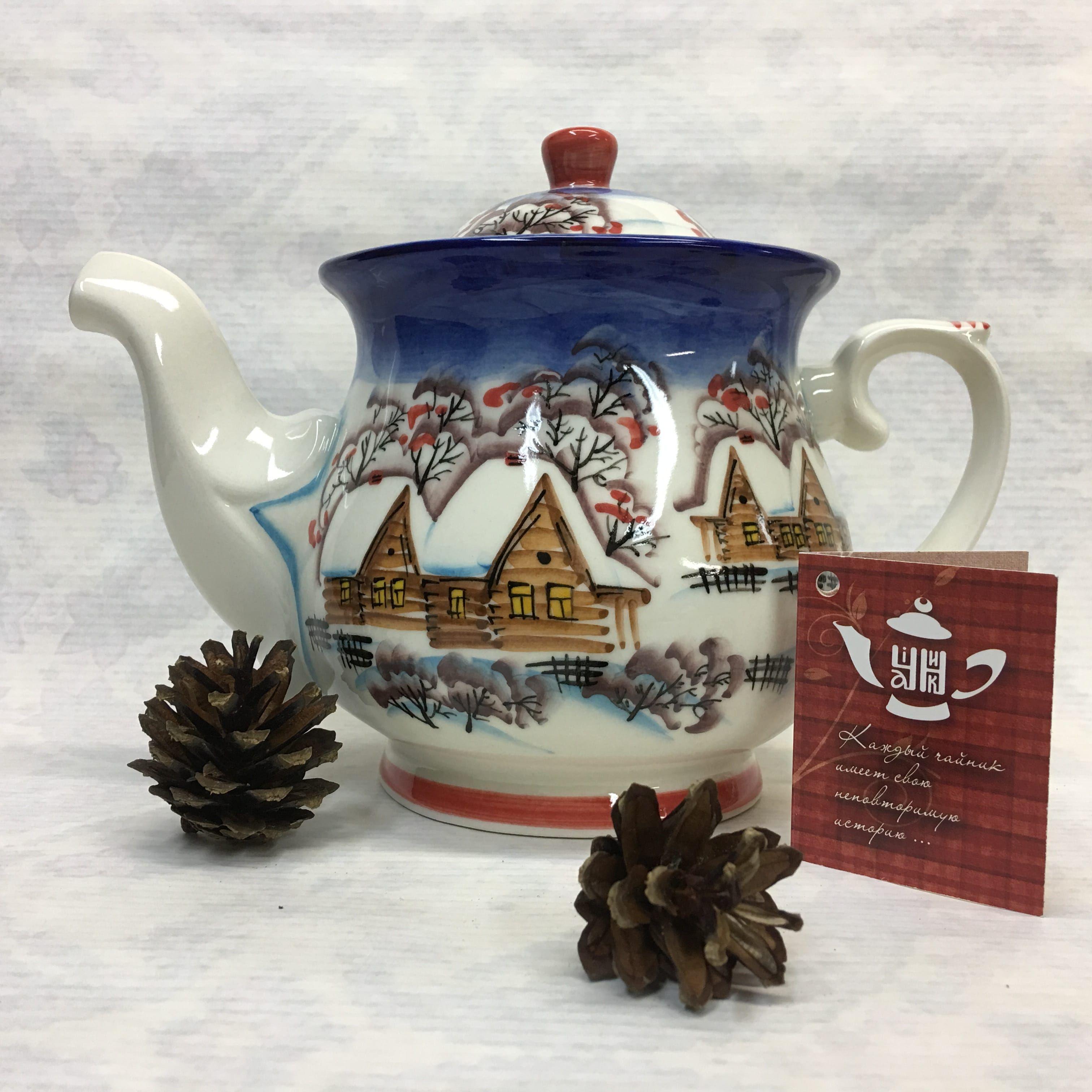"""Cheerful porcelain / Porcelain teapot """"Winter village, night"""", author Ogorodnikova O."""