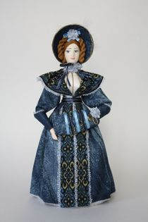Doll gift porcelain. The lady with the clutch. 1830s 19th century.