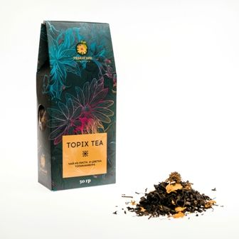 Tea from leaf and flower of Jerusalem artichoke