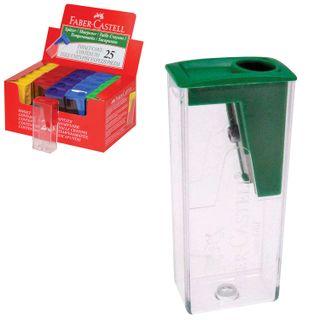 Sharpener FABER-CASTELL, container, rectangular, plastic, parts assorted