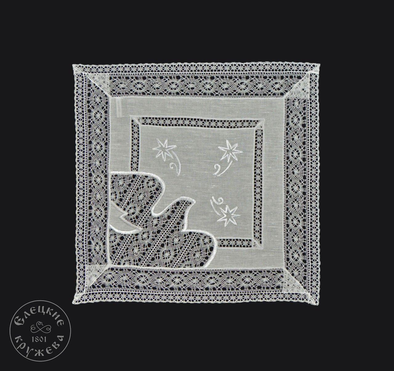 "Yelets lace / Linen napkin ""Dove of Peace"""