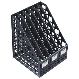 Tray vertical paper of STAMM (245х240х300 mm), 6 sections, mesh, collapsible, black