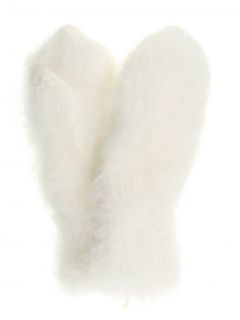Hand-knitted mittens for women from down of the Angora rabbit
